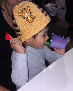 Felig drinking his milk