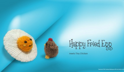 Knitted happy fried egg meets tiny chicken cute!