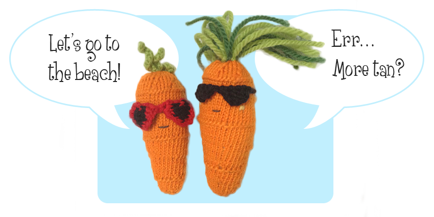 free knitting patterns Sweet Carrot &amp; Cool Carrot - cute together wearing sunglasses