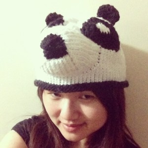 Me wearing Panda hat before I add eyes and mouth