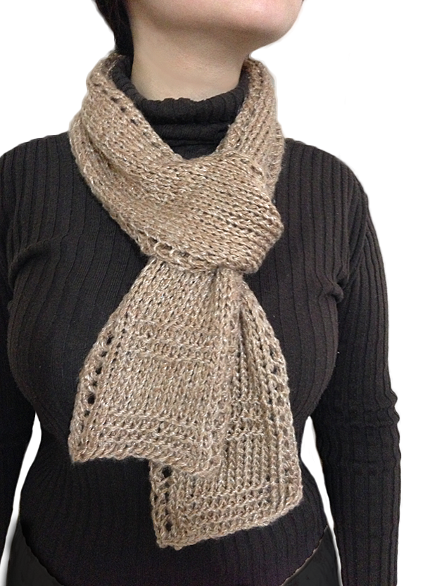 Beginner Knit Scarf Patterns : Free Unisex Easy Beginner Lace Border Scarf Knitting Pattern