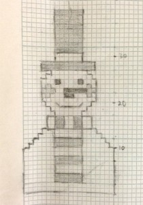Snowman mobile phone case sketch knitting chart