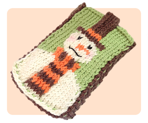 Christmas Snowman Mobile Phone Cover Case Free Cute Knitting Patterns