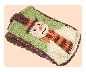 Snowman mobile phone case cover free knitting patterns