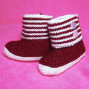 Boot Style Red and White Baby Booties