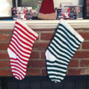 Striped knit stockings for Christmas